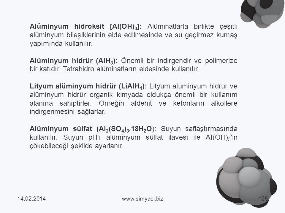 Alüminyum hidroksit [AI(OH)3]: Alüminatlarla birlikte çeşitli alüminyum bileşiklerinin elde edilmesinde ve su geçirmez kumaş yapımında kullanılır.